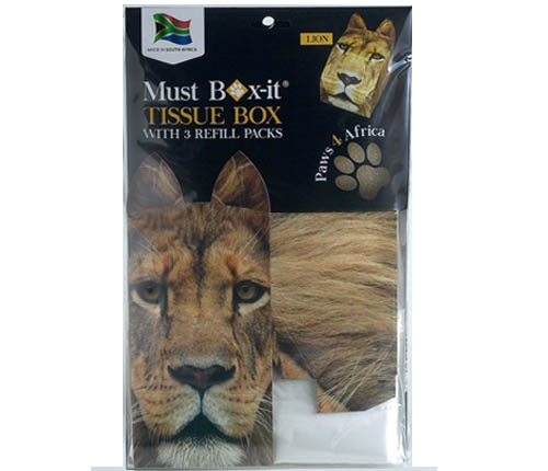 Paws 4 Africa Wild Animal tissue box with refills | Meister Trading | The Cat Product Specialist