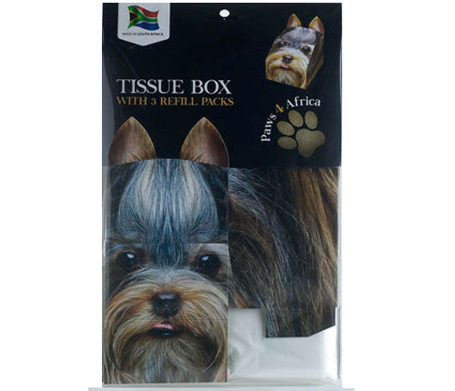Paws 4 Africa Dog tissue box with refills | Meister Trading | The Cat Product Specialist