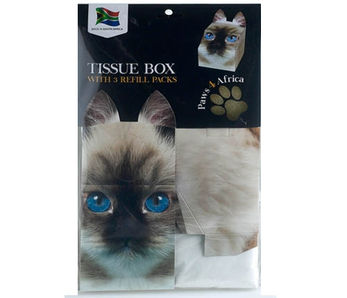 Paws 4 Africa Cat tissue box with refills | Meister Trading | The Cat Product Specialist